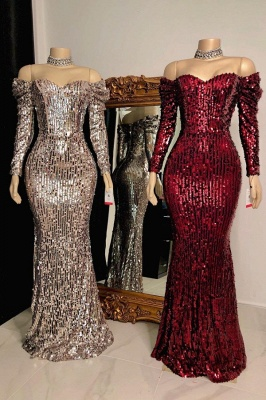 Sparkly Off the Shoulder Long Sleeves Sequin Long Prom Dresses