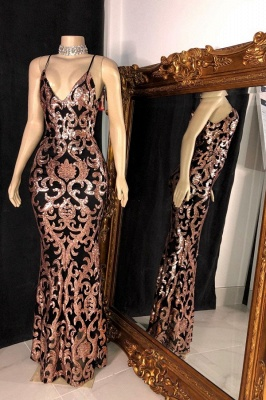 Spaghetti Straps V-neck Floor Length Sheath Sequined Sexy Prom Dresses