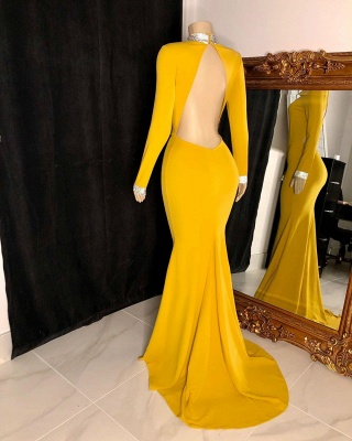 High Neck Long Sleeves Open Back Fitted Prom Dresses in Yellow_2