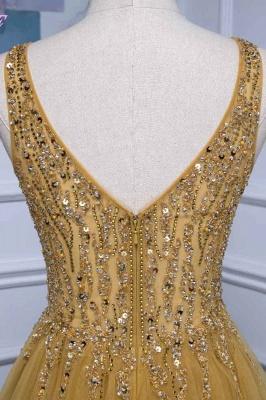 Straps V-neck Floor Length Beading A-line Simple Prom Dresses_6