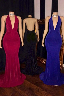 Halter Deep V-neck Floor Length Sleeveless Column Prom Dresses