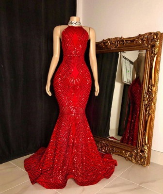 Halter Sleeveless Red Long Sequin Trumpet Prom Dresses_2