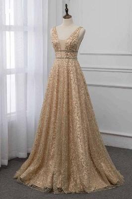 Sleeveless V-neck A-line Floor Length Stunning Prom Dresses_3