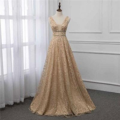 Sleeveless V-neck A-line Floor Length Stunning Prom Dresses_7