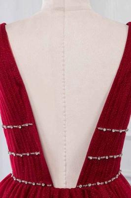 Straps Floor Length  V-neck  A-line Burgundy Tulle Prom Dresses_5