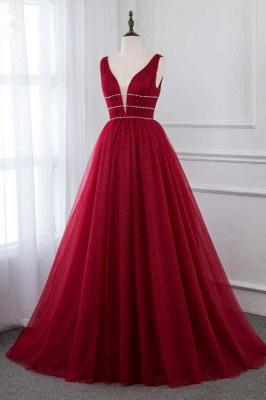 Straps Floor Length  V-neck  A-line Burgundy Tulle Prom Dresses_3