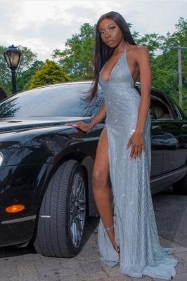 Glitter Halter Deep V-neck Sequin Prom Dresses with Side Slit_1