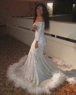 Off the Shoulder Long Sleeves Silver Mermaid Prom Dresses with Fur_3