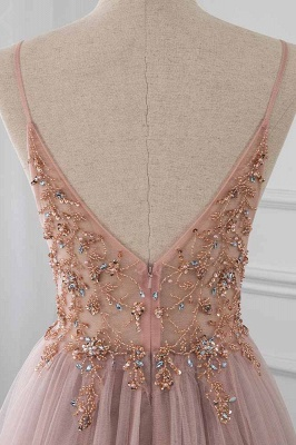 Spaghetti Straps V-neck Beaded Sheer A-line Tulle Prom Dresses_6