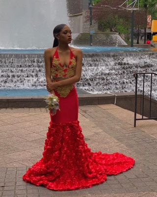 Sexy Two Piece Halter V-neck Red Mermaid Prom Dresses with Appliques_2