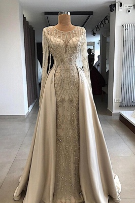 Luxury Jewel Beaded Prom Gowns with Long Sleeves_1