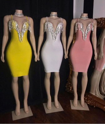 Hot Spaghetti Straps Sheath Sexy Cocktail Dresses with Fringes_2