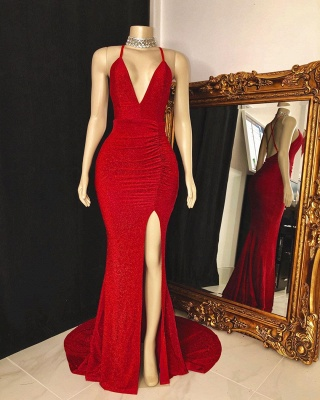 Spaghetti Straps Floor Length Red  Prom Dresses with High Slit_2
