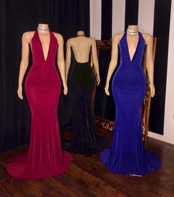 Halter Deep V-neck Floor Length Sleeveless Column Prom Dresses_2
