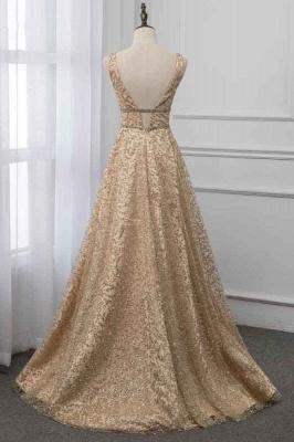 Sleeveless V-neck A-line Floor Length Stunning Prom Dresses_2