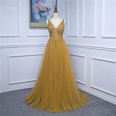 Straps V-neck Floor Length Beading A-line Simple Prom Dresses_7