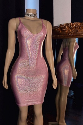 Spaghetti Straps V-neck Cute Pink Sheath Homecoming Dresses_1