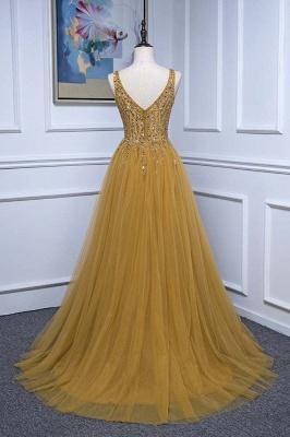 Straps V-neck Floor Length Beading A-line Simple Prom Dresses_2