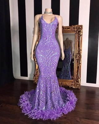 Purple Spaghetti Straps Sequin Fit and Flare Prom Dress with Fur_2