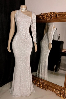 Glittering One Shoulder Floor Length Sheath Silver Prom Dresses