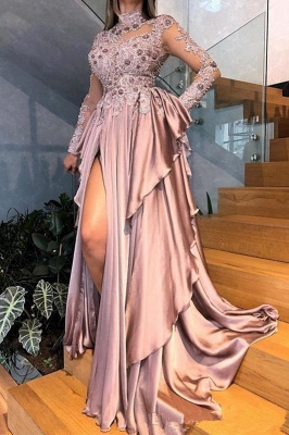 High Neck Long Sleeves Pink Prom Dresses with Beads and Side Slit