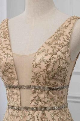 Sleeveless V-neck A-line Floor Length Stunning Prom Dresses_5