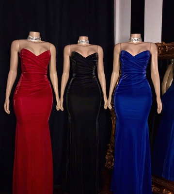 Sleek Strapless Floor Length Sweetheart Fitted Prom Dresses_2