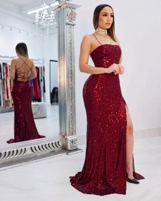 Sexy Spaghetti Straps Sequins Column Prom Dresses with Criss-cross Straps Back Details_2