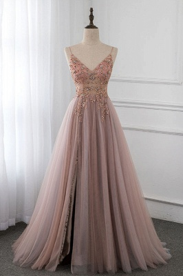 Spaghetti Straps V-neck Beaded Sheer A-line Tulle Prom Dresses_1