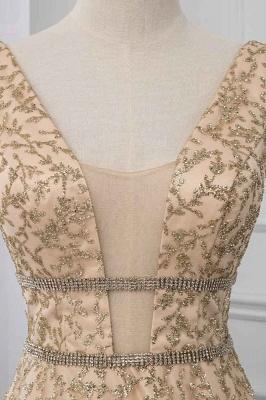 Sleeveless V-neck A-line Floor Length Stunning Prom Dresses_4