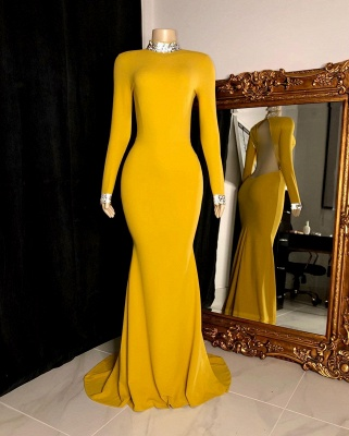 High Neck Long Sleeves Open Back Fitted Prom Dresses in Yellow_3