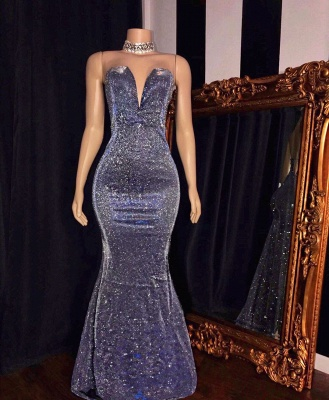 Glittering Sweetheart Strapless Metallic Fitted Prom Dresses_2