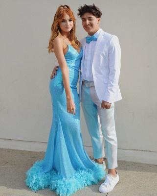 Stunning Blue Spaghetti Straps V-neck Sequin Mermaid Prom Dresses_2