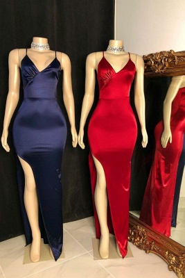 Sleek Spaghetti Straps V-neck Floor Length Prom Dresses with Side Slit