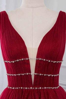 Straps Floor Length  V-neck  A-line Burgundy Tulle Prom Dresses_4