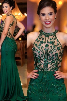 High Neck Sleeveless Sheer Column Emerald Prom Dresses