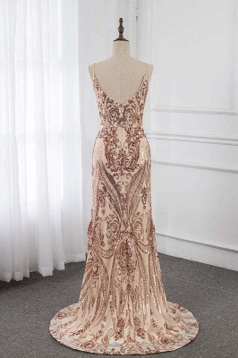 Spaghetti Straps V-neck Fitted Floor Length Sequined Prom Dresses_2