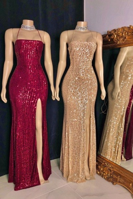 Sexy Spaghetti Straps Sequins Column Prom Dresses with Criss-cross Straps Back Details_1