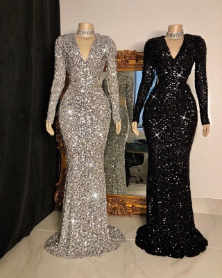 Sparkly V-neck Sheath Floor Length Prom Dresses with Long Sleeves_2