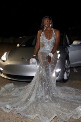 Spaghetti Straps V-neck Sheer Sexy Mermaid Prom Dresses_1