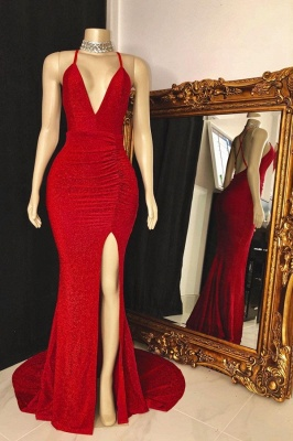 Spaghetti Straps Floor Length Red  Prom Dresses with High Slit_1