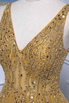 Straps V-neck Floor Length Beading A-line Simple Prom Dresses_5
