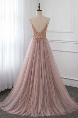 Spaghetti Straps V-neck Beaded Sheer A-line Tulle Prom Dresses_2