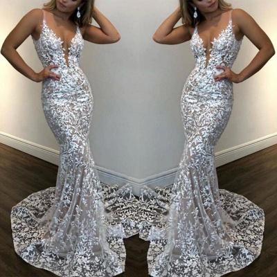 Spaghetti Straps V-neck Sheath Sexy Lace Prom Dresses_2