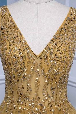 Straps V-neck Floor Length Beading A-line Simple Prom Dresses_4