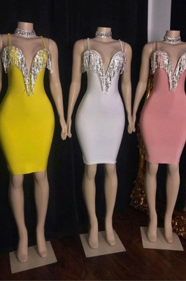 Hot Spaghetti Straps Sheath Sexy Cocktail Dresses with Fringes