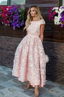 Jewel A-line Appliques Pink Midi Party Dresses with Short Sleeves_3
