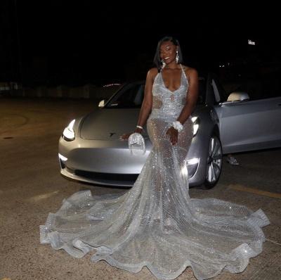 Spaghetti Straps V-neck Sheer Sexy Mermaid Prom Dresses_3