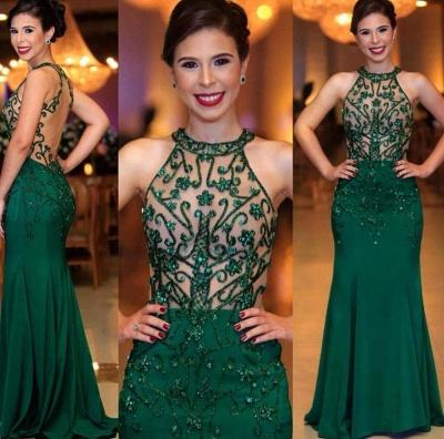 High Neck Sleeveless Sheer Column Emerald Prom Dresses_2
