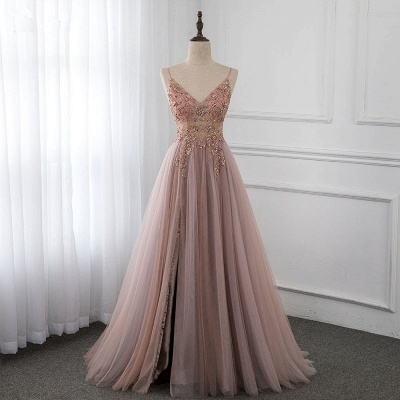 Spaghetti Straps V-neck Beaded Sheer A-line Tulle Prom Dresses_7